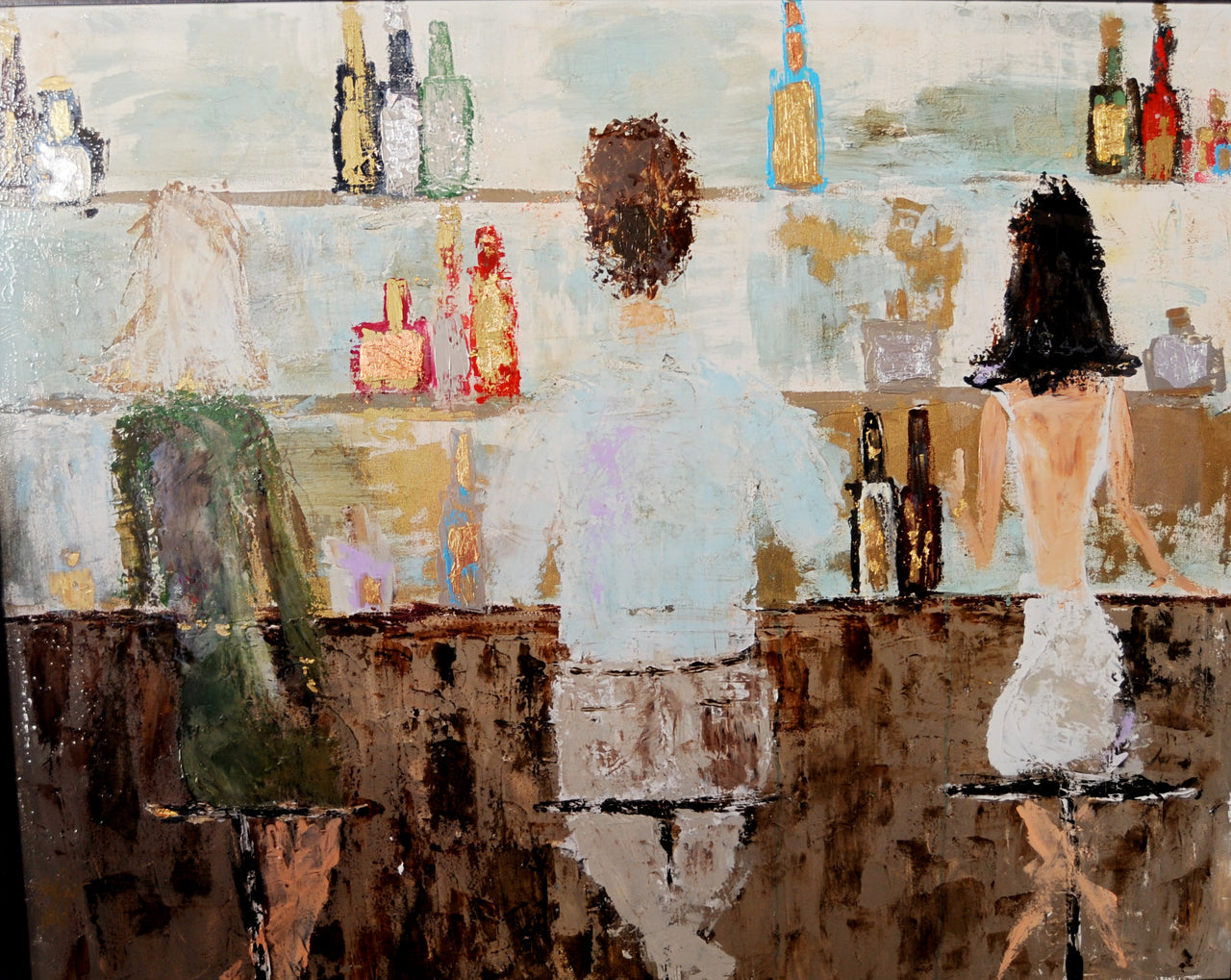 """At the Bar"" Amber Ivey Fine art abstract painting"