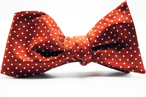 Red Micro Dot Self Tie Bow