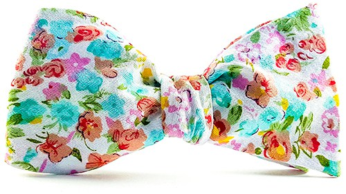 Coral Turquoise Plumeria Bow Tie and Pocket Square - J.Cooper Classic Neckwear & Accessories