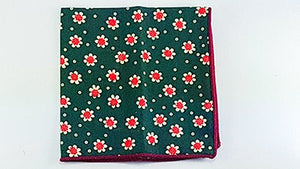 Green Carnation Floral Pocket Square