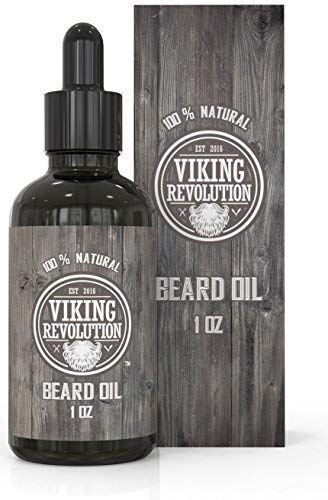 Viking Revolution Beard Oil Conditioner - All Natural Unscented Organic Argan & Jojoba Oils - Softens, Smooths & Strengthens Beard Growth - Grooming Beard and Mustache Maintenance Treatment, 1 Pack : Beauty