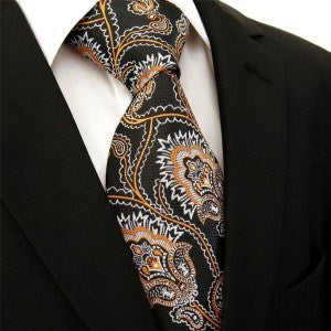 Black Orange Floral Necktie - J.Cooper Classic Neckwear & Accessories