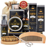 Beard Kit for Men Grooming & Care W/Beard Wash/Shampoo, Unscented Beard Growth Oil, Beard Balm Leave-in Conditioner, Beard Comb, Beard Brush, Beard Scissor 100% Natural & Organic for Beard Care : Beauty
