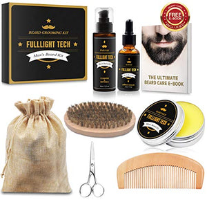 Beard Kit for Men Grooming & Care W/Beard Wash/Shampoo, Unscented Beard Growth Oil, Beard Balm Leave-in Conditioner, Beard Comb, Beard Brush, Beard Scissor 100% Natural & Organic for Beard Care : Beauty - J.Cooper Classic Neckwear & Accessories