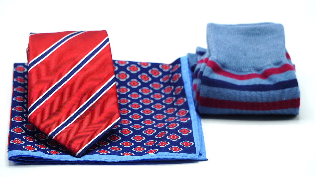 Red Blue Stripe Necktie |Blue Red Stripe Dress Socks | Pocket Square - J.Cooper Classic Neckwear & Accessories