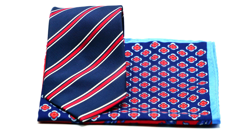 Blue Red Stripe Necktie and 4 Print Pocket Square - J.Cooper Classic Neckwear & Accessories