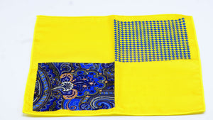 Yellow Blue Paisley Pocket Square - J.Cooper Classic Neckwear & Accessories