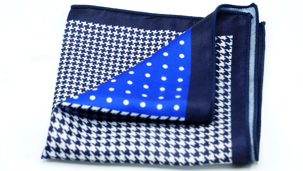 Blue Polka Dot Hound Pocket Square - J.Cooper Classic Neckwear & Accessories