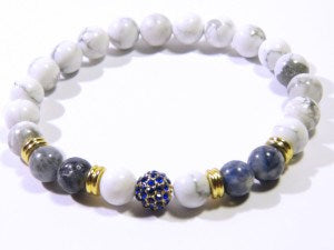 White Natural Stone Disco Ball Bracelet - J.Cooper Classic Neckwear & Accessories