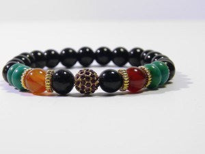 Black Natural Stone Disco Ball Bracelet - J.Cooper Classic Neckwear & Accessories
