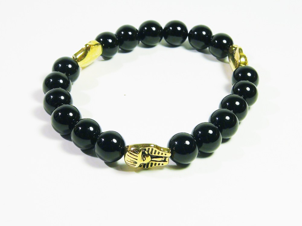 King Tut Black Natural Stone Bracelet - J.Cooper Classic Neckwear & Accessories