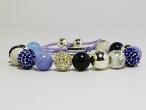 White Blue Natural Crystal Shambhalla Bracelet - J.Cooper Classic Neckwear & Accessories