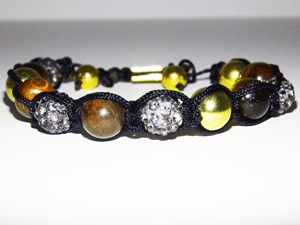 Tiger Eye Gray Crystal Shambhalla Bracelet