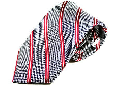 Red Stripe Checkered Necktie - JCC