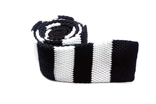Black White Cotton Knit Tie - J.Cooper Classic Neckwear & Accessories