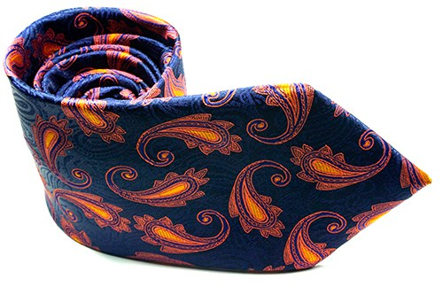 Pursuit Orange Paisley Necktie - J.Cooper Classic Neckwear & Accessories