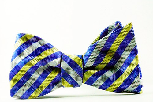 Ritz Plaid Yellow Blue Self Tie Bow Tie & Pocket Square - J.Cooper Classic Neckwear & Accessories