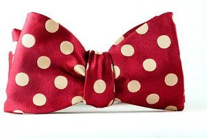 Red Tan Polka Dot Self Tie Bow  & Pocket Square - J.Cooper Classic Neckwear & Accessories