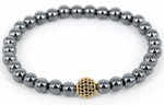 24K Gold CZ Beads Natural Stone Hematite Bracelets - J.Cooper Classic Neckwear & Accessories