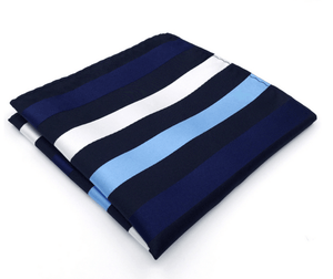 Blue Stripe Pocket Square - J.Cooper Classic Neckwear & Accessories