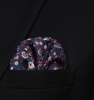 Navy Blue Rose Self Tie Bow and Pocket Square - J.Cooper Classic Neckwear & Accessories