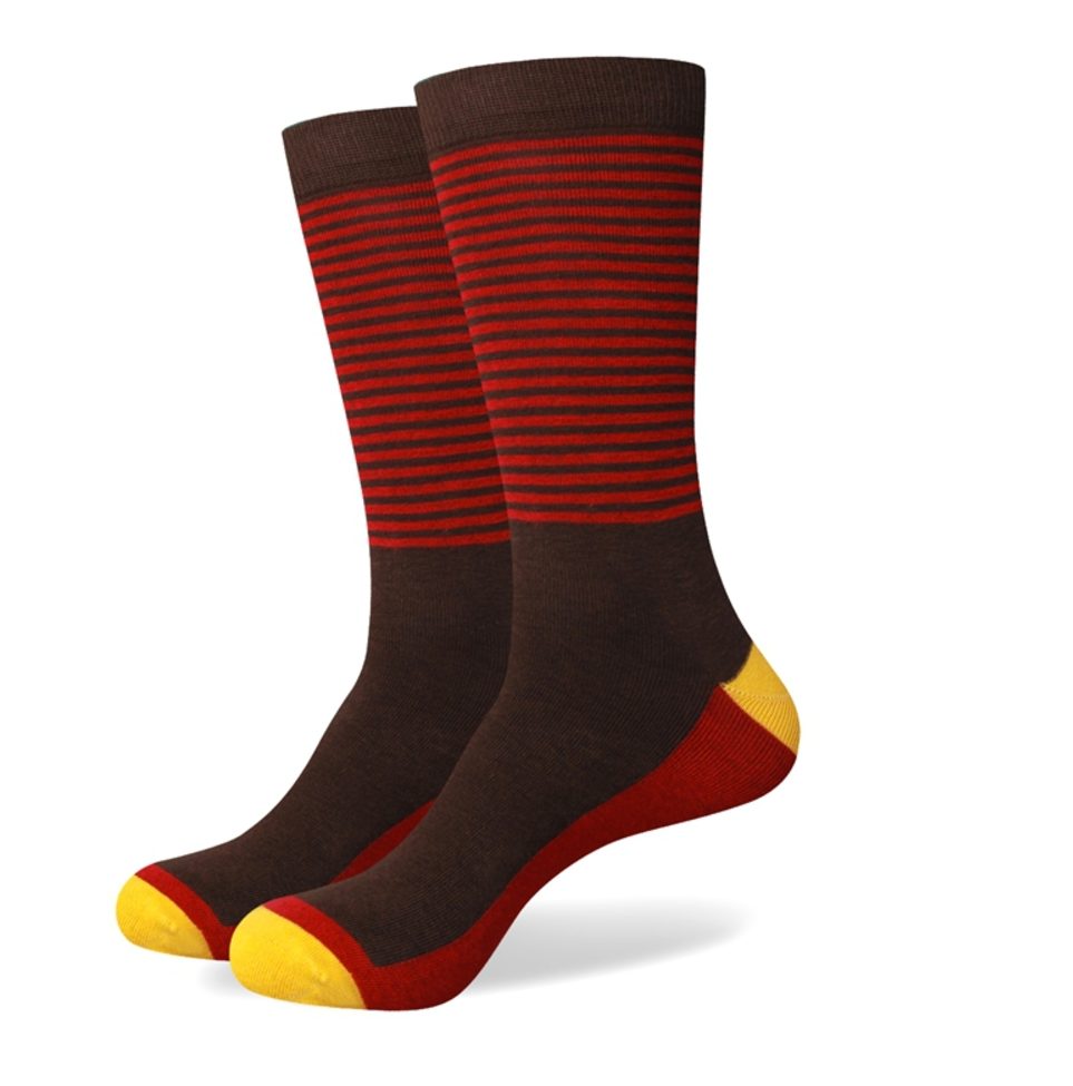Red Brown Cotton Colorful socks - J.Cooper Classic Neckwear & Accessories