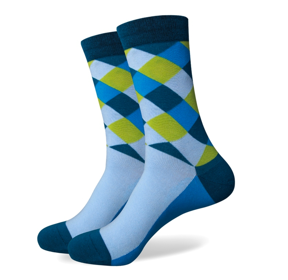 Mens Blue Faded Diamond Dress Socks