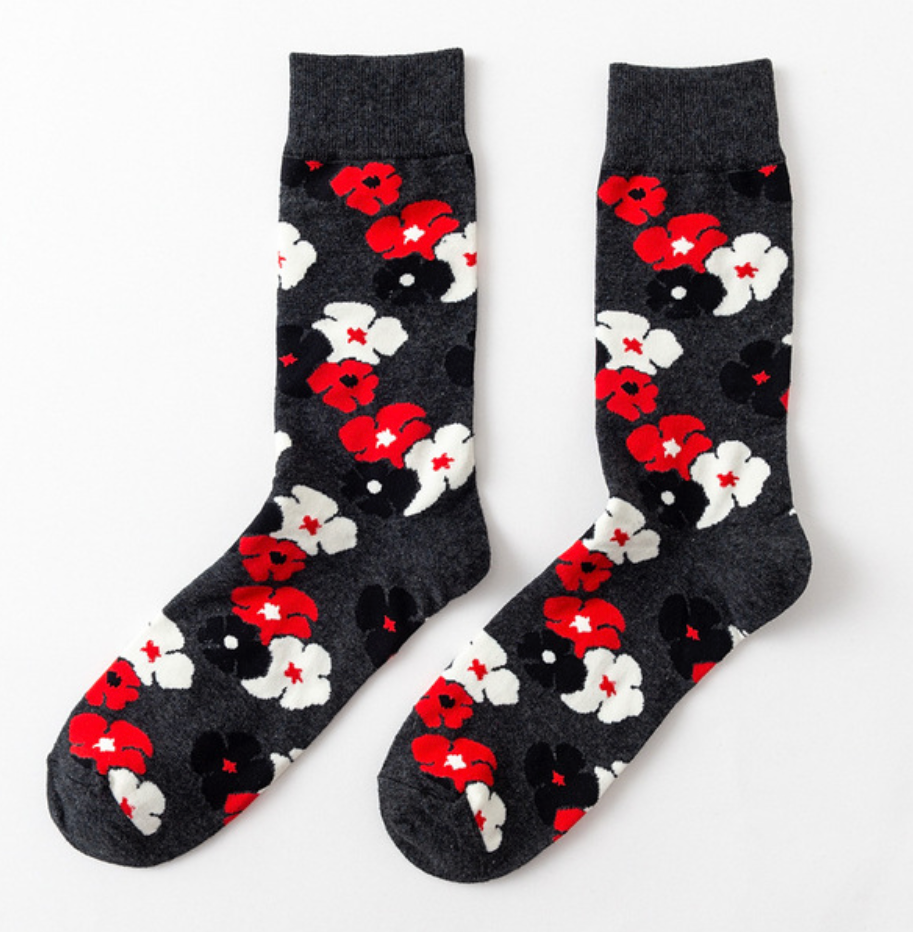 Black Red White Floral Cotton Socks - J.Cooper Classic Neckwear & Accessories