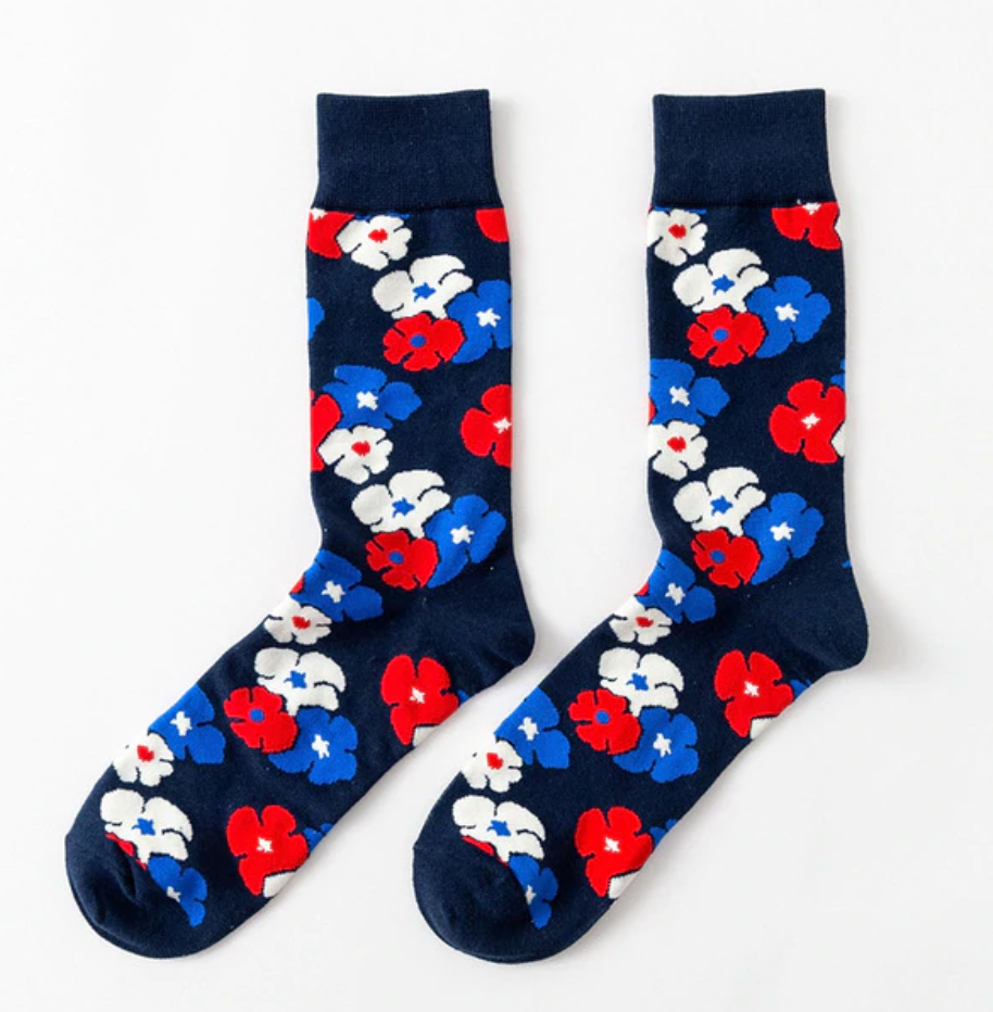 Blue Red White Floral Cotton Socks - J.Cooper Classic Neckwear & Accessories