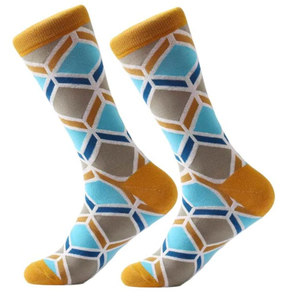 Blue Gold Geometric Cotton Socks - J.Cooper Classic Neckwear & Accessories