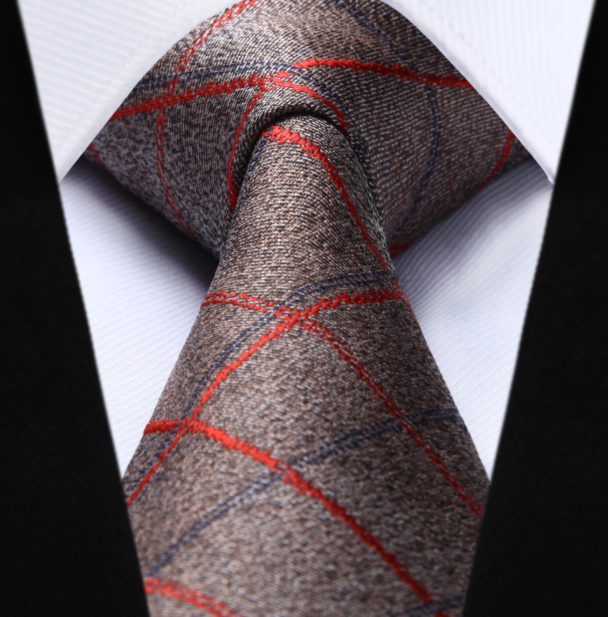 Brown Red Blue Plaid Necktie - J.Cooper Classic Neckwear & Accessories
