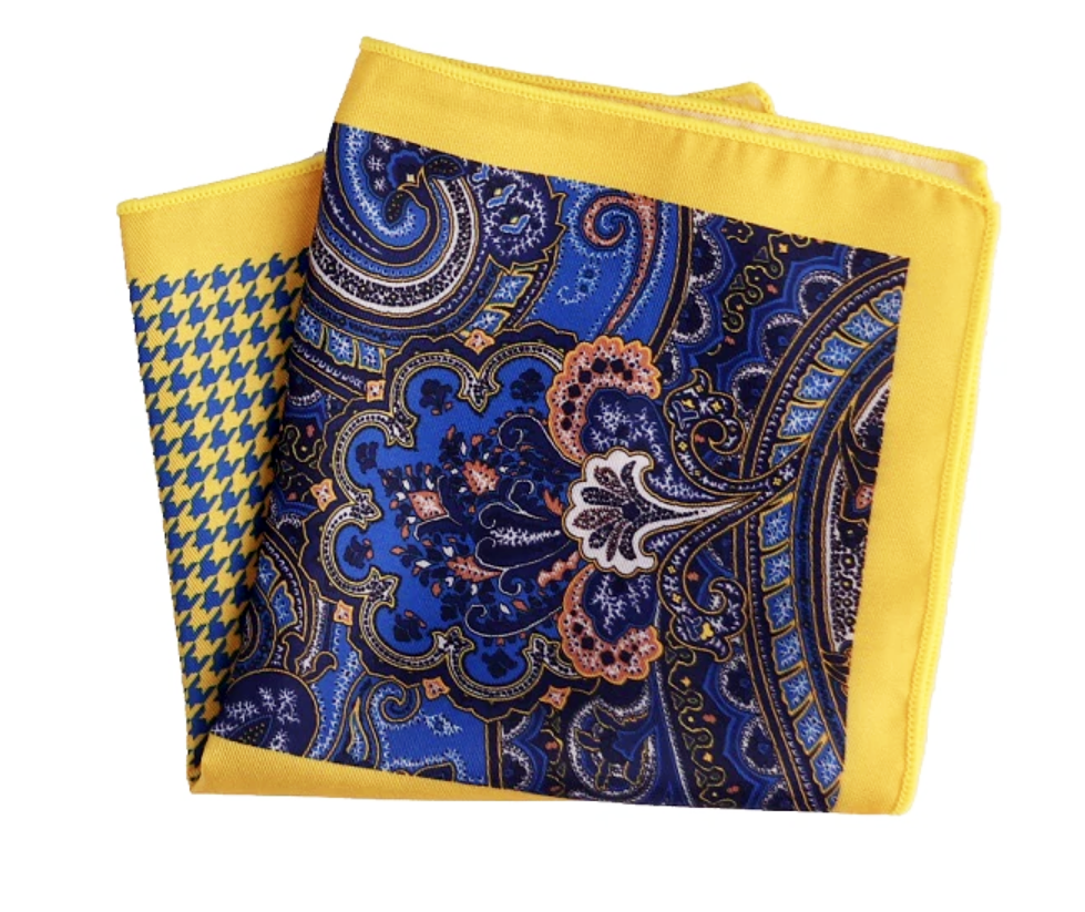 Yellow Blue Paisley Pocket Square