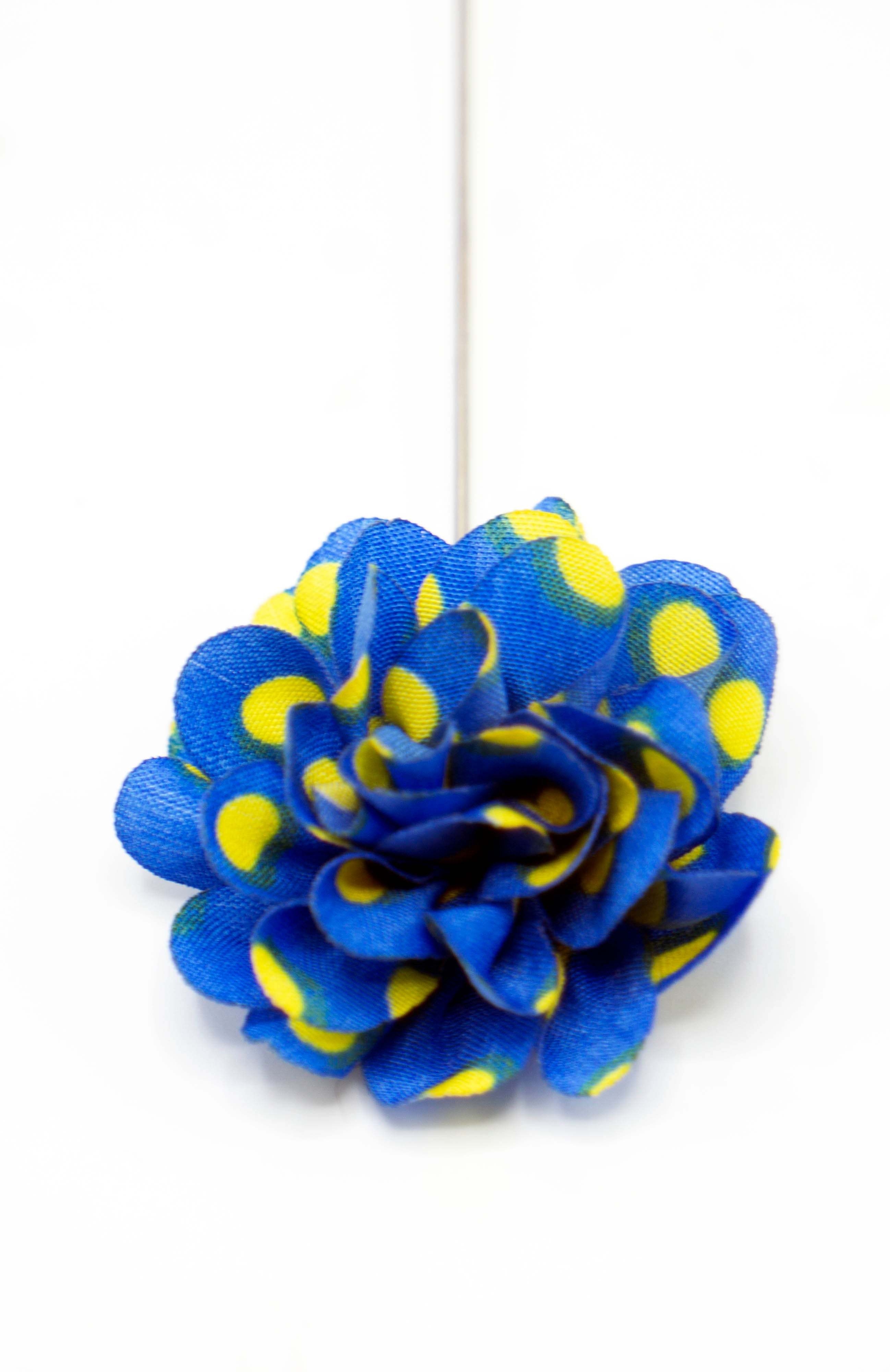 Baby Blue Yellow Polka Dot Petite Lapel Flower - JCC