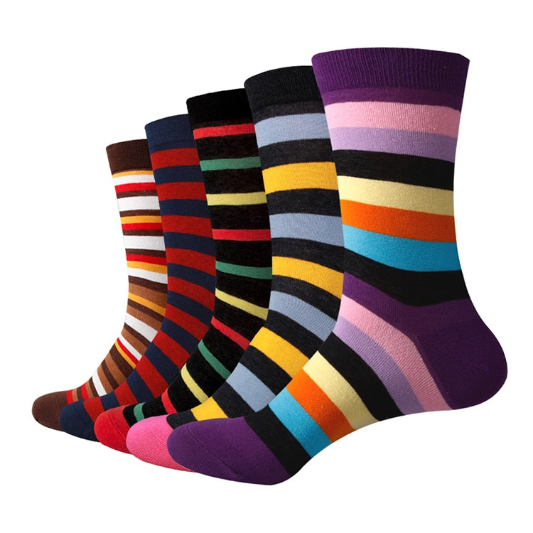 Men Chromatic Stripe Cotton Socks (5 Pairs/Lot) - J.Cooper Classic Neckwear & Accessories
