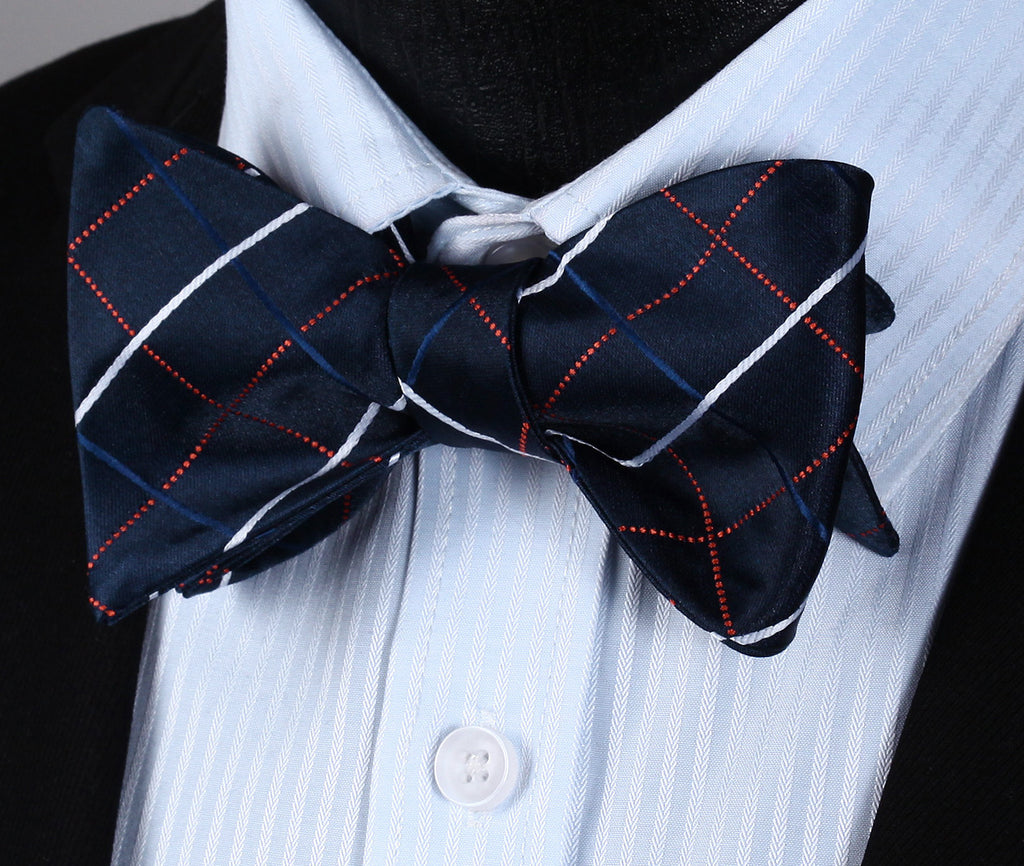 Navy Blue Orange Check Self Bow Tie Pocket Square - J.Cooper Classic Neckwear & Accessories