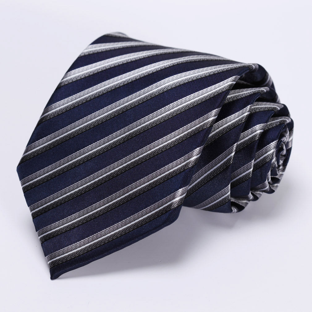 Navy Blue Gray Stripe Necktie Handkerchief Set - J.Cooper Classic Neckwear & Accessories