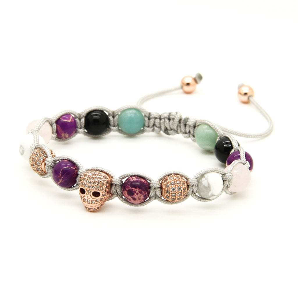 8mm Purple Sea Sediment Stone Clear CZ Skull Macrame Bracelet - J.Cooper Classic Neckwear & Accessories
