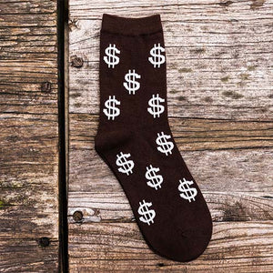 Dollar Sign Cotton Dress Socks