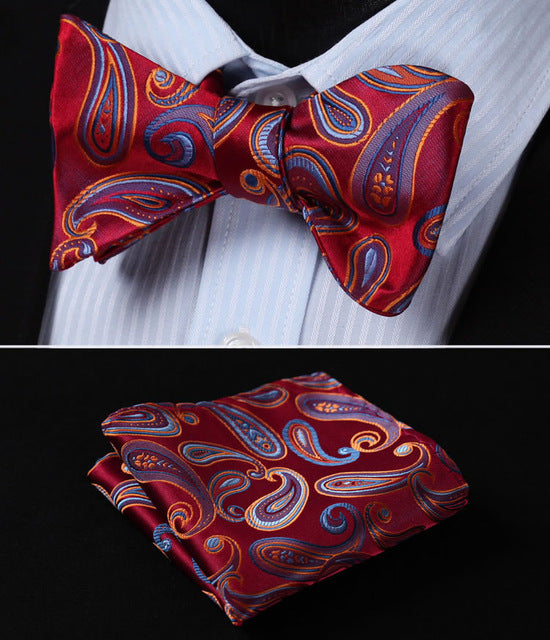 Red Orange Paisley Self Tie BowTie Pocket Square - J.Cooper Classic Neckwear & Accessories