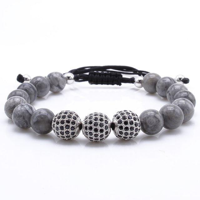 Natural Gray Stone Gold Pave CZ Bracelet - J.Cooper Classic Neckwear & Accessories