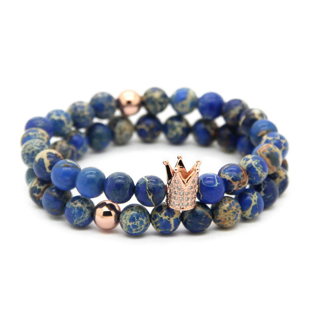 Sovereign King 8mm Blue Sea Sediment Stone Beads Micro Pave CZ Sets Bracelets Set - J.Cooper Classic Neckwear & Accessories