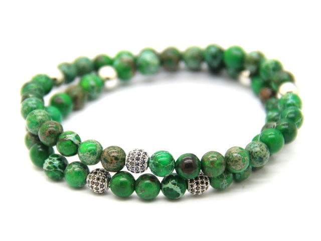 6mm Blue & Green Sea Sediment Stone Beads with Micro Pave CZ Beads Bracelet - J.Cooper Classic Neckwear & Accessories