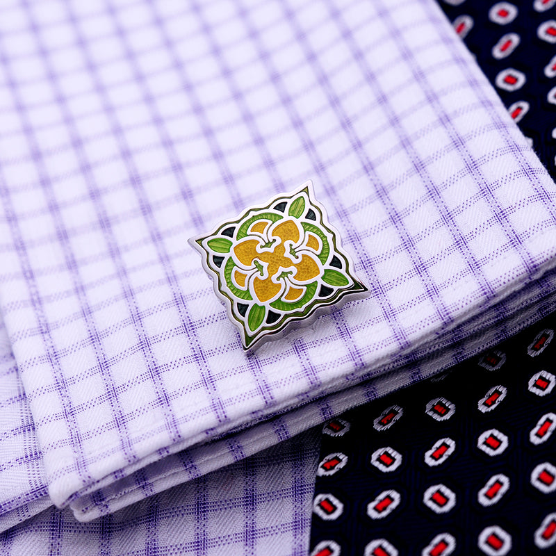 Green Yellow Floral Cufflink - J.Cooper Classic Neckwear & Accessories