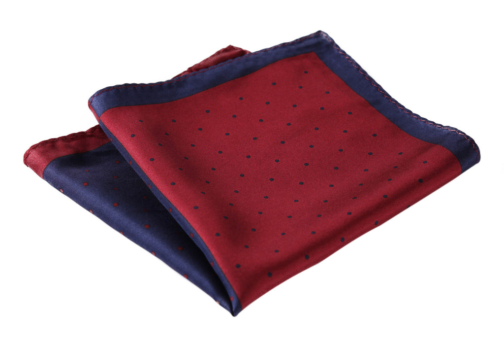 Red Blue Micro Dot 100% Silk Pocket Square - J.Cooper Classic Neckwear & Accessories