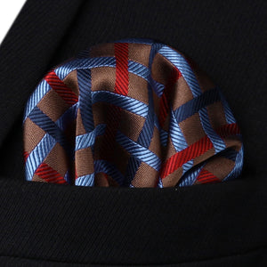 Brown Blue Red Plaid Checks Necktie Pocket Square - J.Cooper Classic Neckwear & Accessories