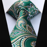 Green Yellow Paisley Necktie Pocket Square - J.Cooper Classic Neckwear & Accessories