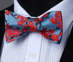 Red Blue Flower Self Tie Bow Pocket Square - J.Cooper Classic Neckwear & Accessories