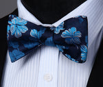 Navy Blue Flower Silk Self Bow Tie Pocket Square - J.Cooper Classic Neckwear & Accessories