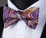 Brown Purple Paisley Silk Self Bow Tie Pocket Square - J.Cooper Classic Neckwear & Accessories