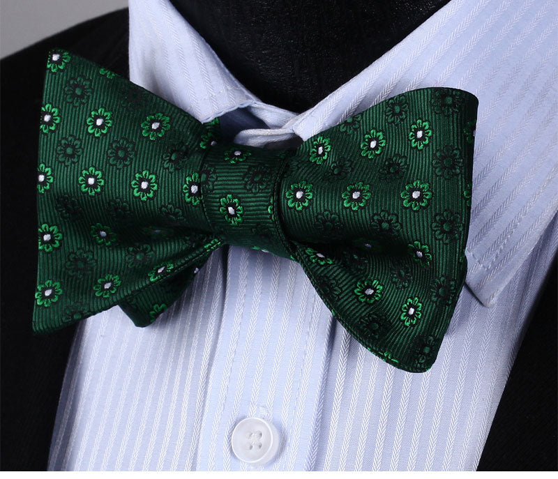 Green Floral Bowtie Silk Self Bow Tie Pocket Square - J.Cooper Classic Neckwear & Accessories